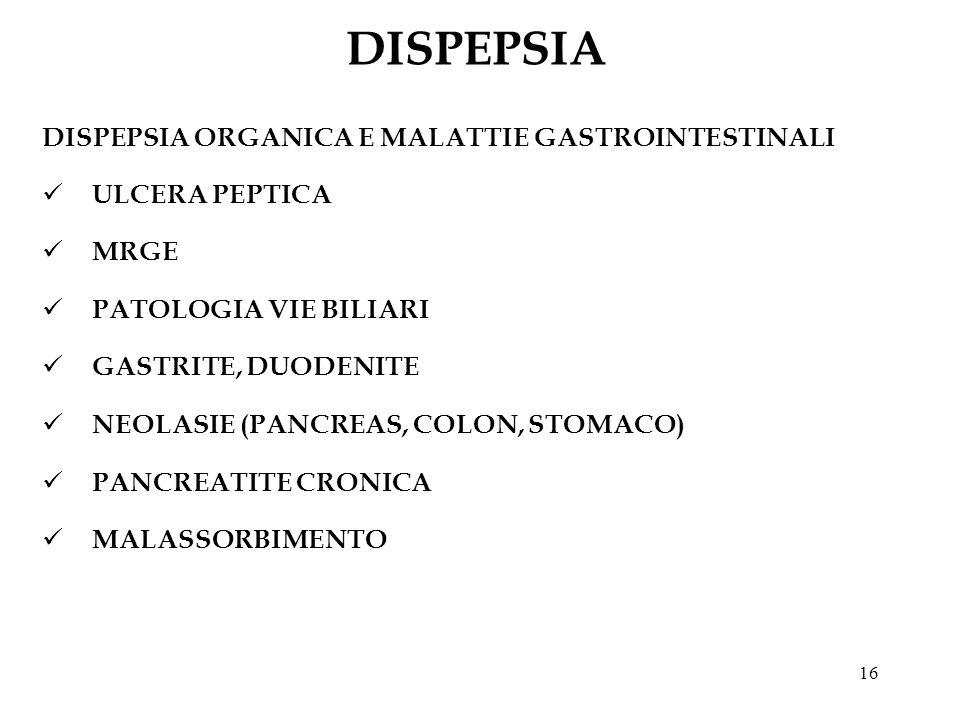 16 DISPEPSIA DISPEPSIA ORGANICA E MALATTIE GASTROINTESTINALI ULCERA PEPTICA MRGE PATOLOGIA VIE BILIARI GASTRITE, DUODENITE NEOLASIE (PANCREAS, COLON,