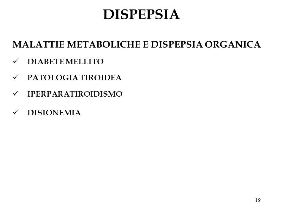 19 DISPEPSIA MALATTIE METABOLICHE E DISPEPSIA ORGANICA DIABETE MELLITO PATOLOGIA TIROIDEA IPERPARATIROIDISMO DISIONEMIA