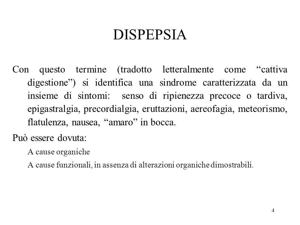 DISPEPSIA Con questo termine (tradotto letteralmente come cattiva digestione) si identifica una sindrome caratterizzata da un insieme di sintomi: sens