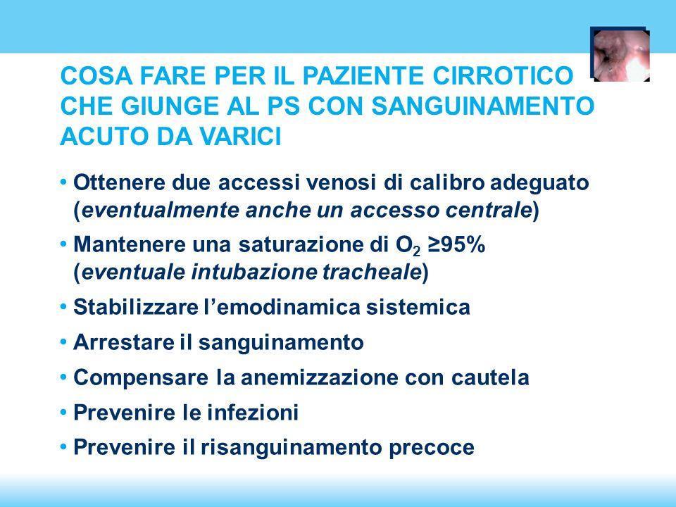 Ottenere due accessi venosi di calibro adeguato (eventualmente anche un accesso centrale) Mantenere una saturazione di O 2 95% (eventuale intubazione tracheale) Stabilizzare lemodinamica sistemica Arrestare il sanguinamento Compensare la anemizzazione con cautela Prevenire le infezioni Prevenire il risanguinamento precoce COSA FARE PER IL PAZIENTE CIRROTICO CHE GIUNGE AL PS CON SANGUINAMENTO ACUTO DA VARICI