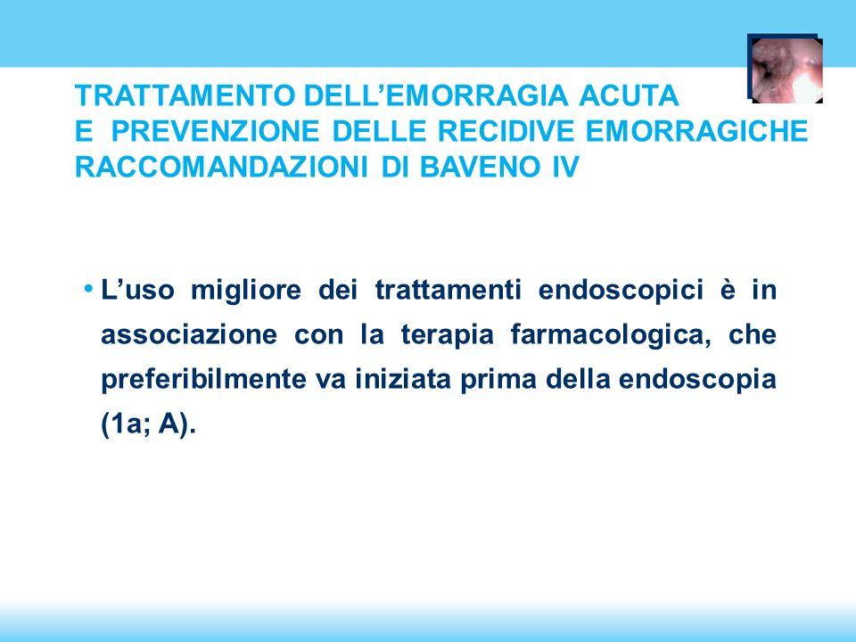 Luso migliore dei trattamenti endoscopici è in associazione con la terapia farmacologica, che preferibilmente va iniziata prima della endoscopia (1a; A).