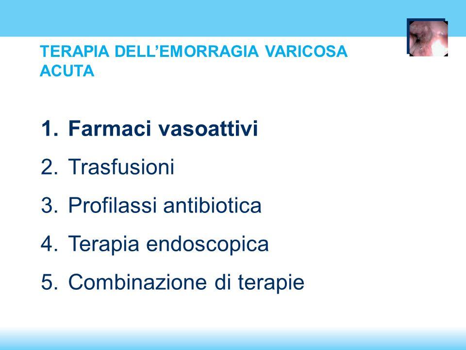TERAPIA DELLEMORRAGIA VARICOSA ACUTA 1.Farmaci vasoattivi 2.Trasfusioni 3.Profilassi antibiotica 4.Terapia endoscopica 5.Combinazione di terapie