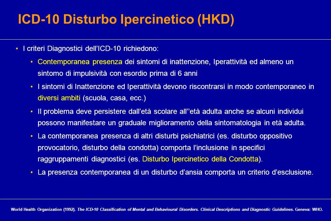 I criteri Diagnostici dellICD-10 richiedono: Contemporanea presenza dei sintomi di inattenzione, Iperattività ed almeno un sintomo di impulsività con