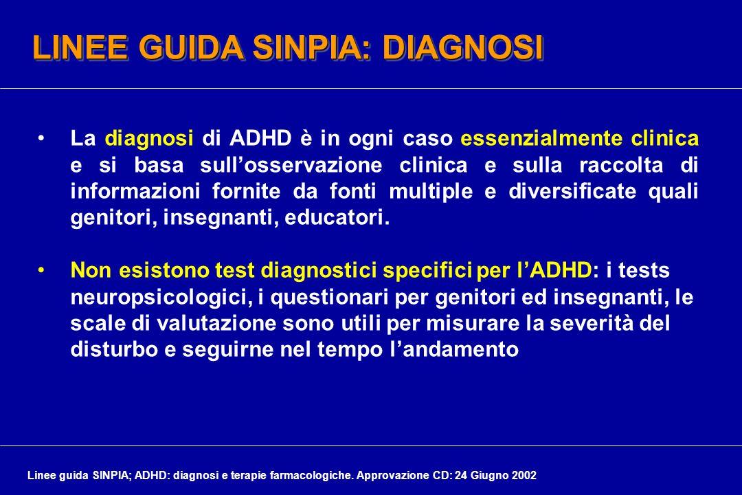 LINEE GUIDA SINPIA: DIAGNOSI La diagnosi di ADHD è in ogni caso essenzialmente clinica e si basa sullosservazione clinica e sulla raccolta di informaz