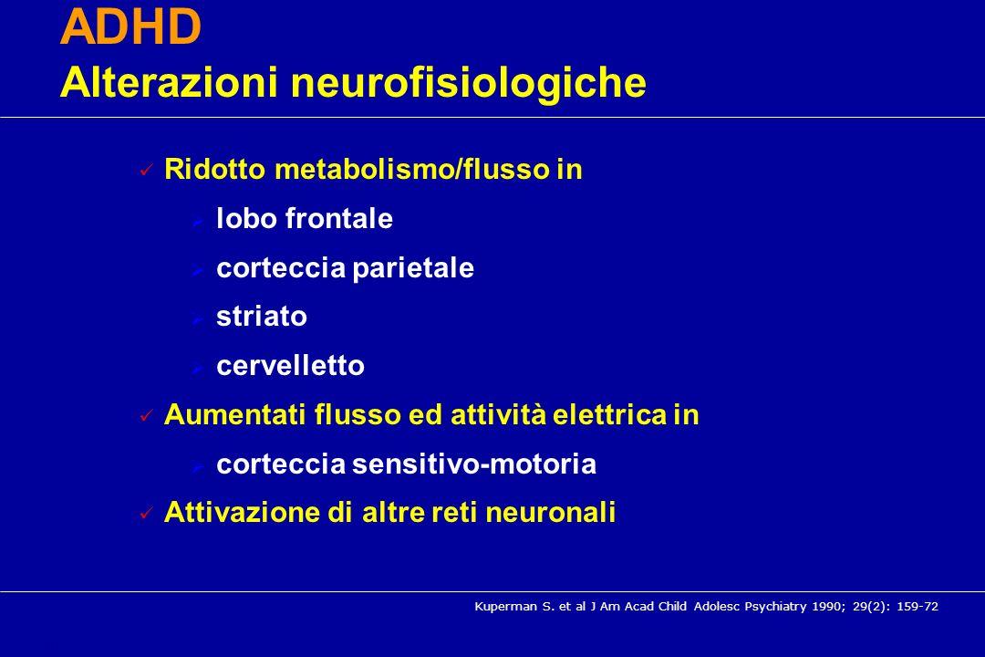 Ridotto metabolismo/flusso in lobo frontale corteccia parietale striato cervelletto Aumentati flusso ed attività elettrica in corteccia sensitivo-moto