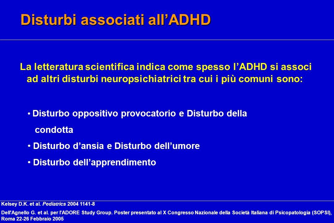 Disturbi associati allADHD La letteratura scientifica indica come spesso lADHD si associ ad altri disturbi neuropsichiatrici tra cui i più comuni sono