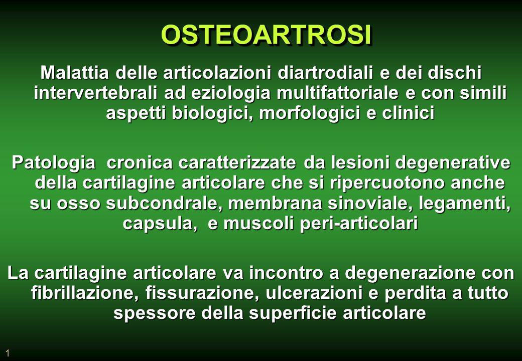 1 Malattia delle articolazioni diartrodiali e dei dischi intervertebrali ad eziologia multifattoriale e con simili aspetti biologici, morfologici e clinici Patologia cronica caratterizzate da lesioni degenerative della cartilagine articolare che si ripercuotono anche su osso subcondrale, membrana sinoviale, legamenti, capsula, e muscoli peri-articolari La cartilagine articolare va incontro a degenerazione con fibrillazione, fissurazione, ulcerazioni e perdita a tutto spessore della superficie articolare OSTEOARTROSIOSTEOARTROSI