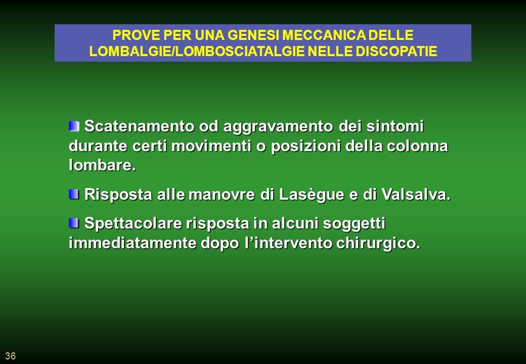 36 PROVE PER UNA GENESI MECCANICA DELLE LOMBALGIE/LOMBOSCIATALGIE NELLE DISCOPATIE Scatenamento od aggravamento dei sintomi durante certi movimenti o posizioni della colonna lombare.