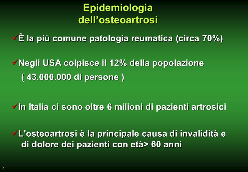 4 Epidemiologia dellosteoartrosi È la più comune patologia reumatica (circa 70%) È la più comune patologia reumatica (circa 70%) Negli USA colpisce il 12% della popolazione Negli USA colpisce il 12% della popolazione ( 43.000.000 di persone ) ( 43.000.000 di persone ) In Italia ci sono oltre 6 milioni di pazienti artrosici In Italia ci sono oltre 6 milioni di pazienti artrosici L osteoartrosi è la principale causa di invalidità e L osteoartrosi è la principale causa di invalidità e di dolore dei pazienti con età> 60 anni di dolore dei pazienti con età> 60 anni