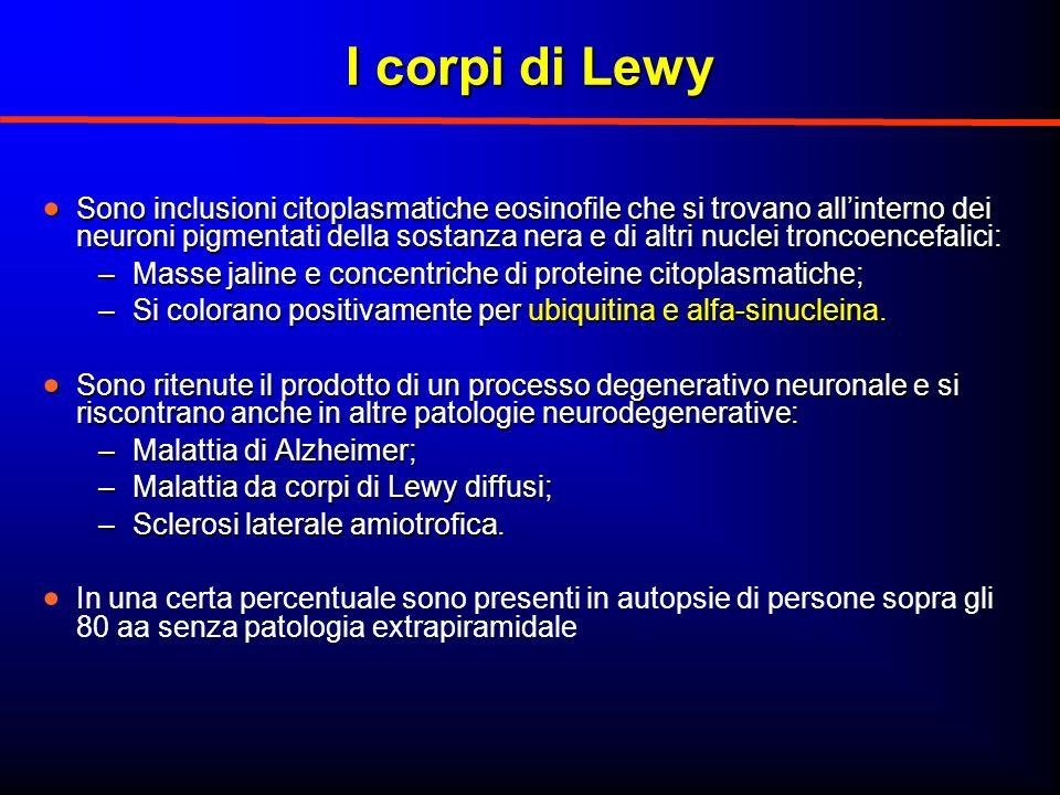 I corpi di Lewy Sono inclusioni citoplasmatiche eosinofile che si trovano allinterno dei neuroni pigmentati della sostanza nera e di altri nuclei tron