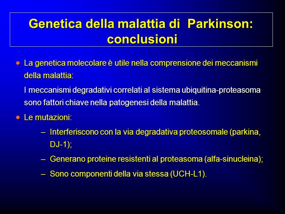 Genetica della malattia di Parkinson: conclusioni La genetica molecolare è utile nella comprensione dei meccanismi della malattia: La genetica molecol