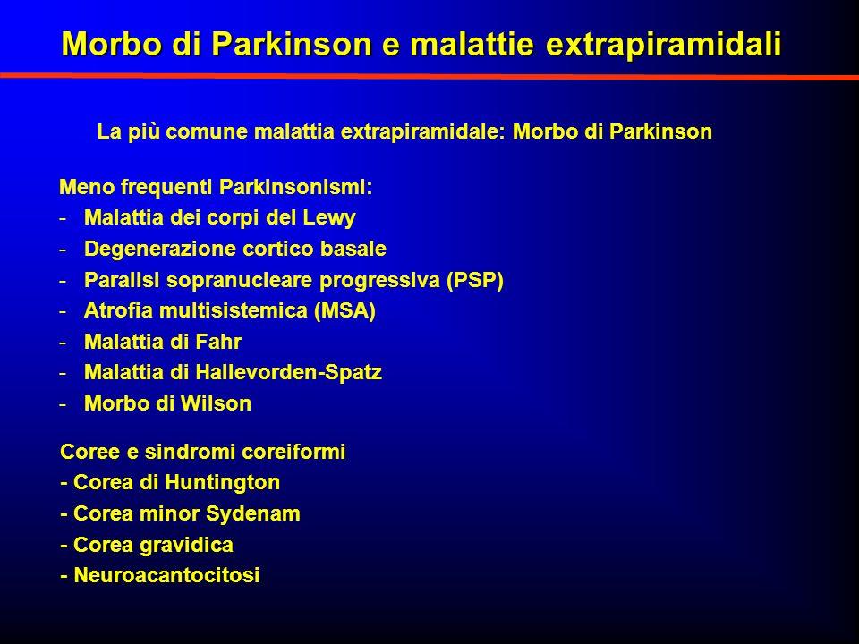 La più comune malattia extrapiramidale: Morbo di Parkinson Meno frequenti Parkinsonismi: -Malattia dei corpi del Lewy -Degenerazione cortico basale -P
