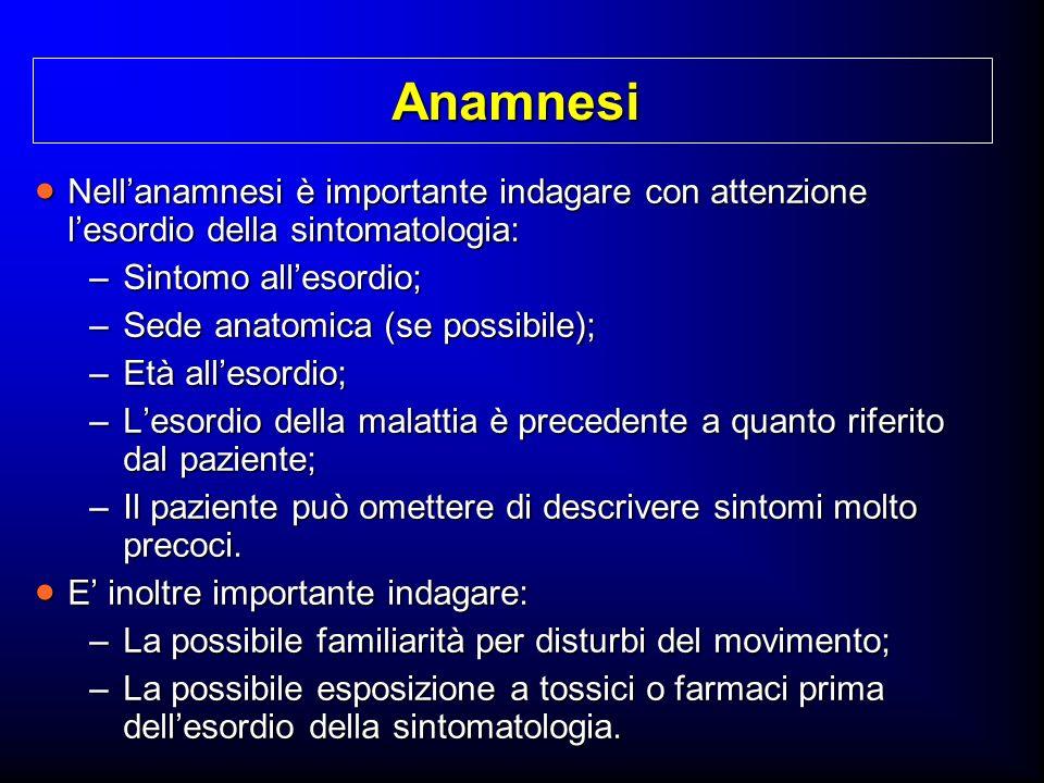 Anamnesi Nellanamnesi è importante indagare con attenzione lesordio della sintomatologia: Nellanamnesi è importante indagare con attenzione lesordio d