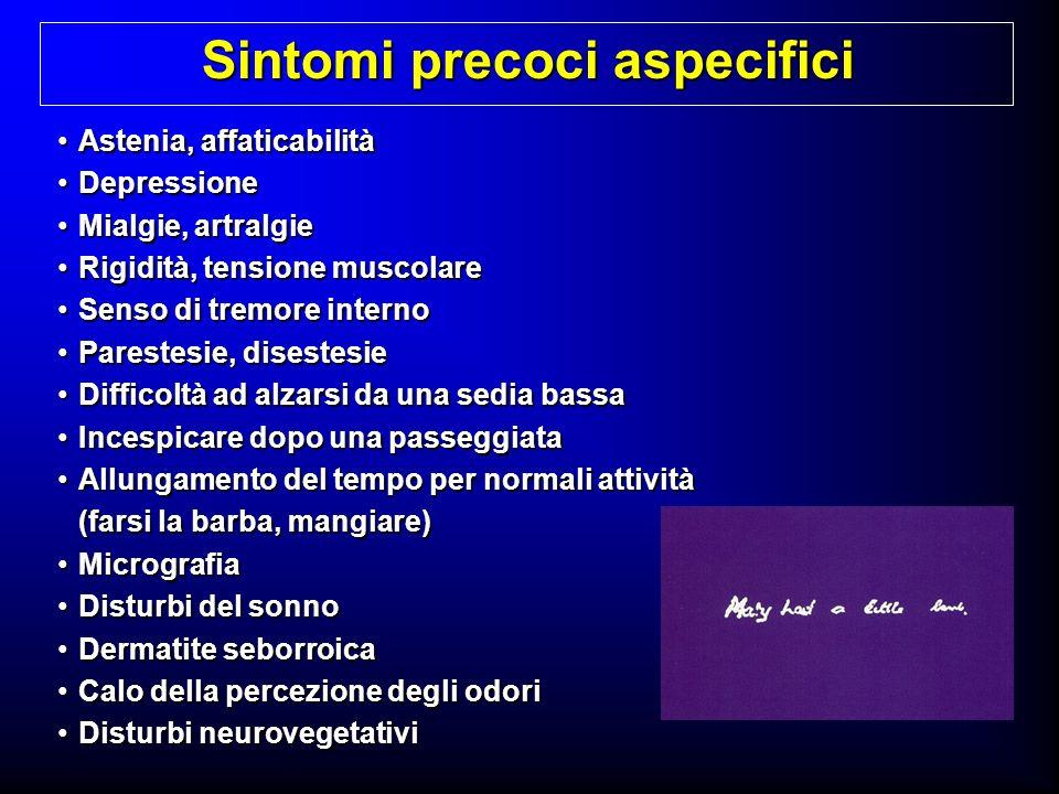 Astenia, affaticabilitàAstenia, affaticabilità DepressioneDepressione Mialgie, artralgieMialgie, artralgie Rigidità, tensione muscolareRigidità, tensi