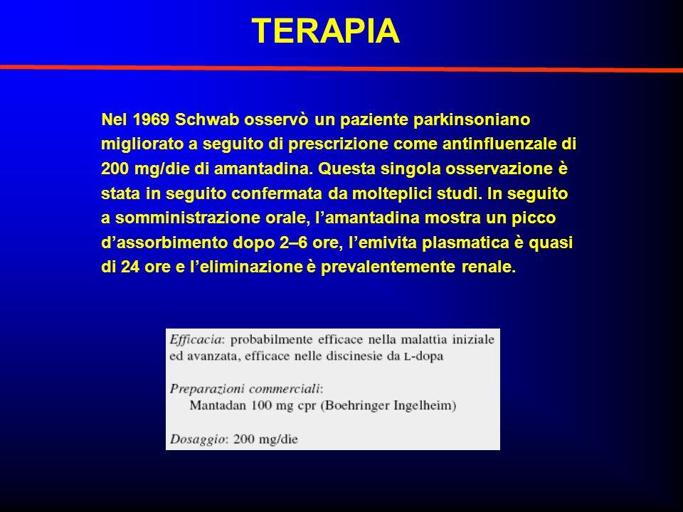 TERAPIA Nel 1969 Schwab osservò un paziente parkinsoniano migliorato a seguito di prescrizione come antinfluenzale di 200 mg/die di amantadina. Questa