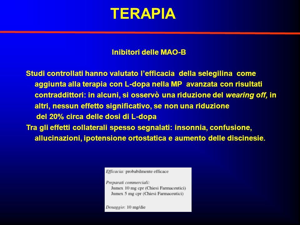 Studi controllati hanno valutato lefficacia della selegilina come aggiunta alla terapia con L-dopa nella MP avanzata con risultati contraddittori: in