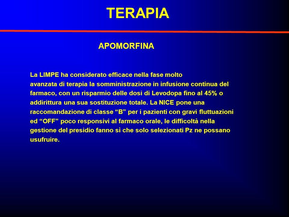 TERAPIA APOMORFINA La LIMPE ha considerato efficace nella fase molto avanzata di terapia la somministrazione in infusione continua del farmaco, con un