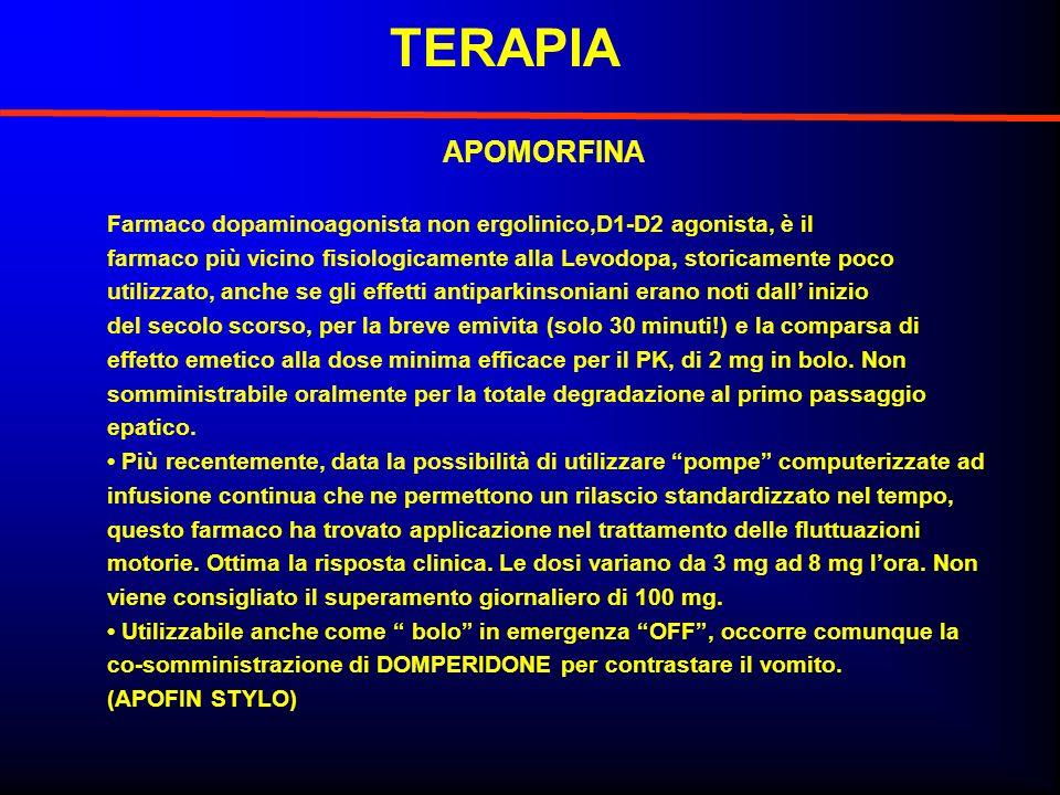 TERAPIA APOMORFINA Farmaco dopaminoagonista non ergolinico,D1-D2 agonista, è il farmaco più vicino fisiologicamente alla Levodopa, storicamente poco u