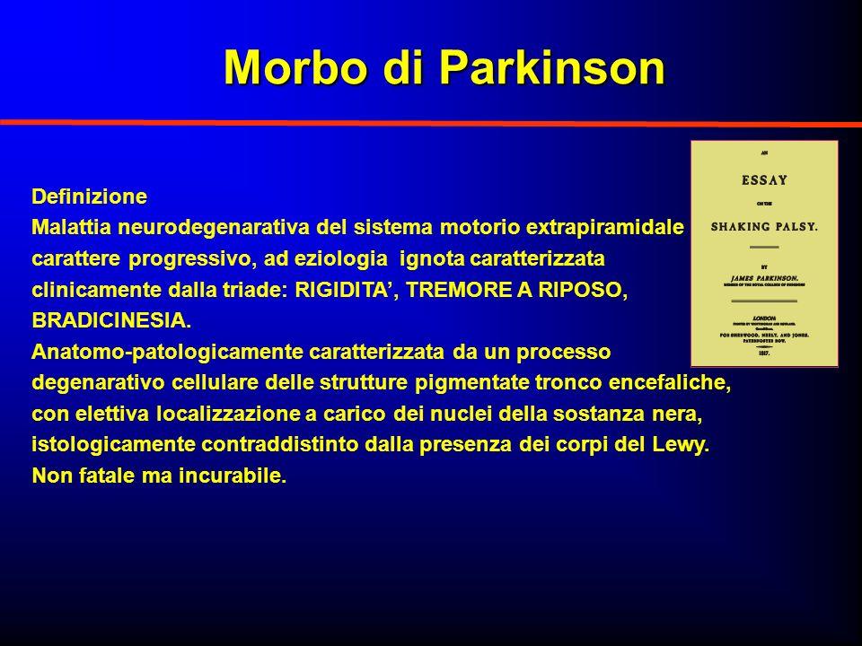 Morbo di Parkinson Morbo di Parkinson Definizione Malattia neurodegenarativa del sistema motorio extrapiramidale a carattere progressivo, ad eziologia