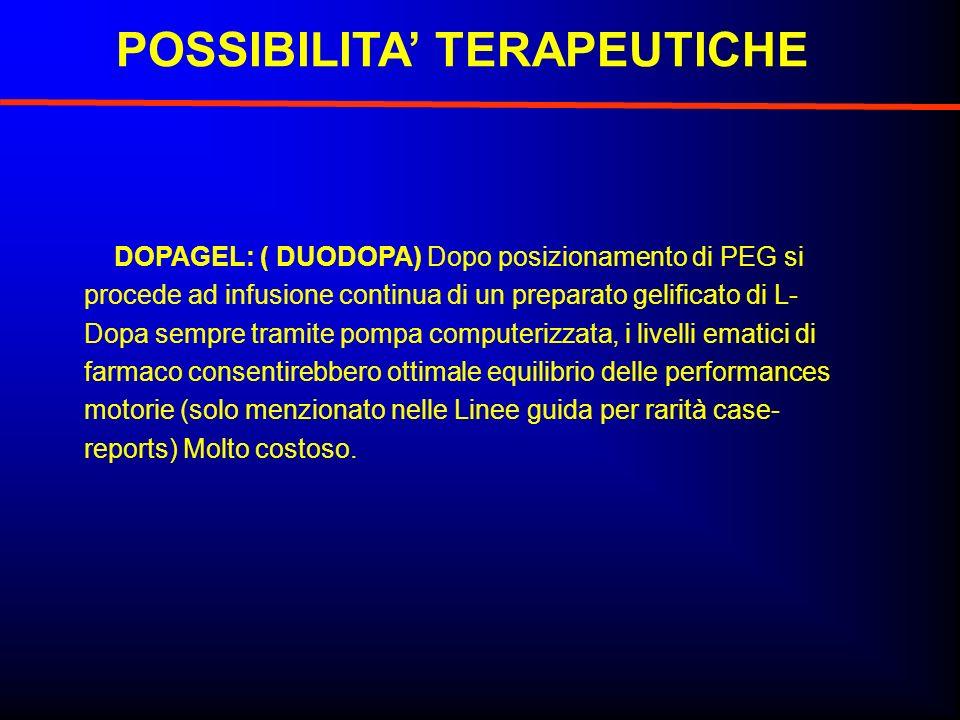 DOPAGEL: ( DUODOPA) Dopo posizionamento di PEG si procede ad infusione continua di un preparato gelificato di L- Dopa sempre tramite pompa computerizz