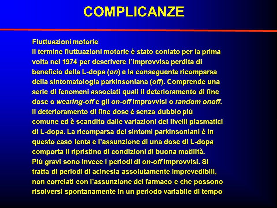 COMPLICANZE Fluttuazioni motorie Il termine fluttuazioni motorie è stato coniato per la prima volta nel 1974 per descrivere limprovvisa perdita di ben