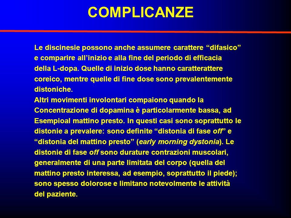 COMPLICANZE Le discinesie possono anche assumere carattere difasico e comparire allinizio e alla fine del periodo di efficacia della L-dopa. Quelle di