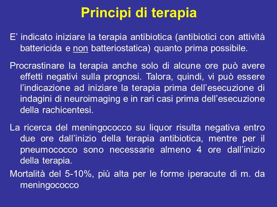 Principi di terapia empirica Forme acquisite in comunità Età 16-50aa Meningococco, pneumococco (+ ) Vancomicina (Vancocin) 15mg/Kg/8-12h ev Ceftriaxone (Rocefin) 2g/12h o Cefotaxime (Zariviz) 2g/4-6h ev