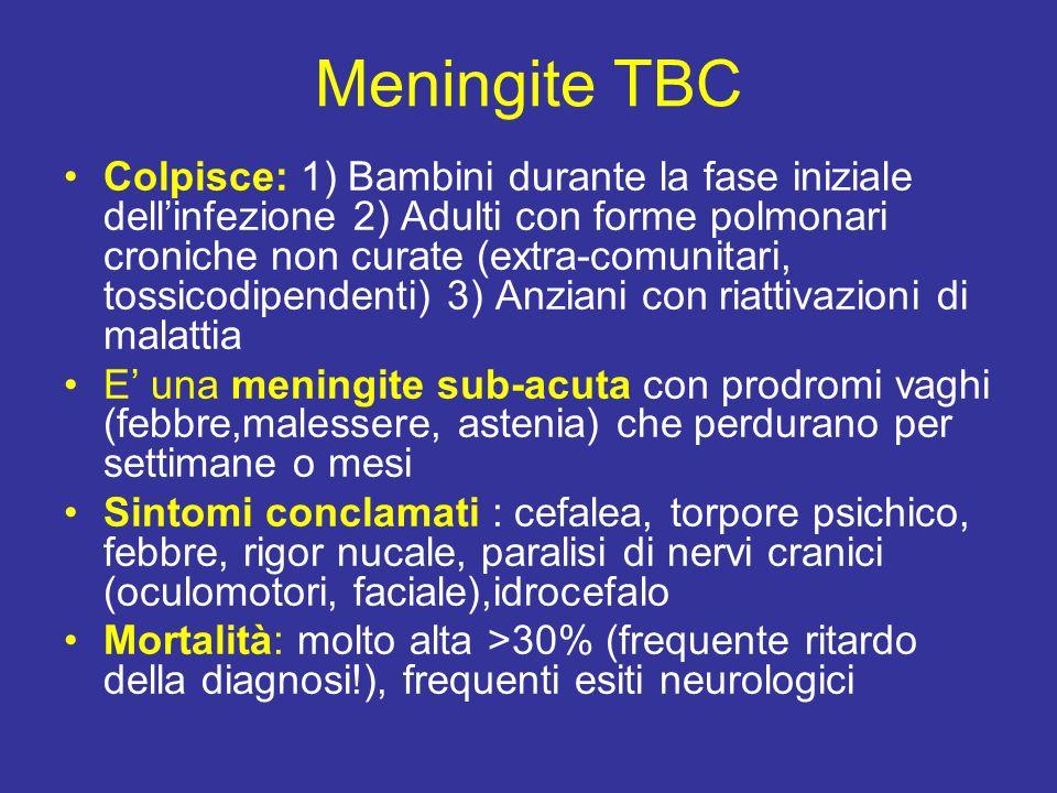 Meningite TBC Colpisce: 1) Bambini durante la fase iniziale dellinfezione 2) Adulti con forme polmonari croniche non curate (extra-comunitari, tossico