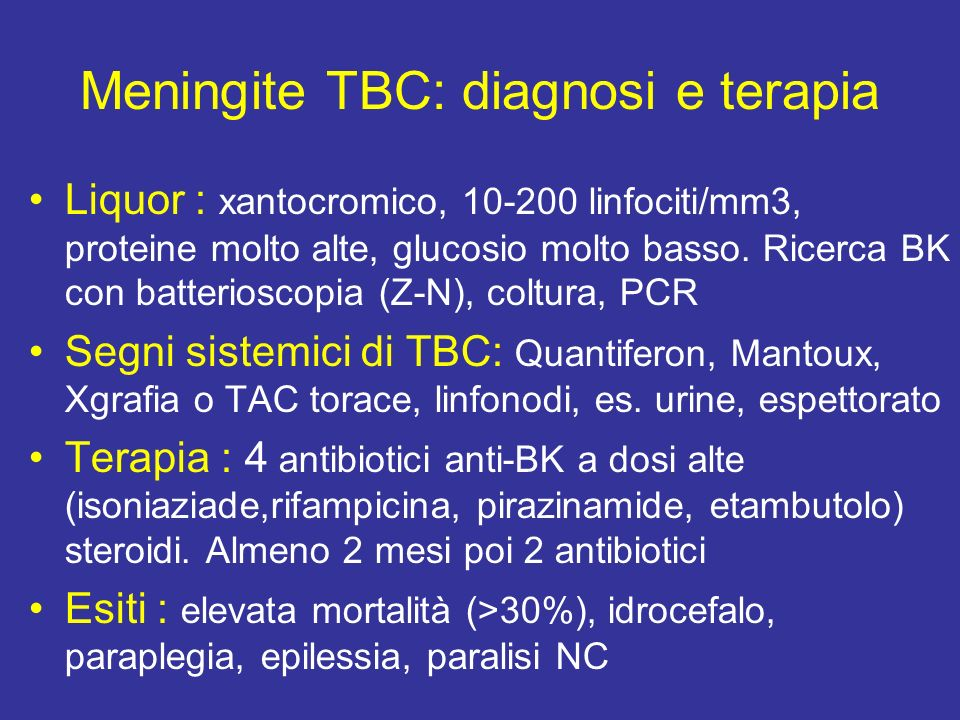 Meningite da Criptococcus neoformans E frequente in soggetti immunodepressi: AIDS, neoplasie radio-chemiotrattate, terapie immunosoppressive, sarcoidosi, diabete Esordio sub-acuto con quadro clinico e liquorale simile alla meningite TBC Il criptococco è visibile nel liquor con colorazione con inchiostro di China.