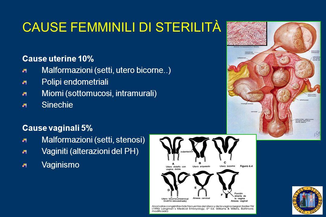 CAUSE FEMMINILI DI STERILITÀ Cause uterine 10% Malformazioni (setti, utero bicorne..) Polipi endometriali Miomi (sottomucosi, intramurali) Sinechie Cause vaginali 5% Malformazioni (setti, stenosi) Vaginiti (alterazioni del PH) Vaginismo
