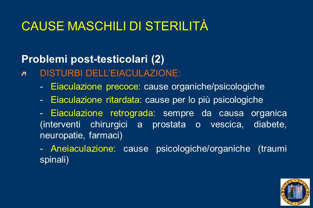 CAUSE MASCHILI DI STERILITÀ Problemi post-testicolari (2) DISTURBI DELLEIACULAZIONE: - Eiaculazione precoce: cause organiche/psicologiche - Eiaculazione ritardata: cause per lo più psicologiche - Eiaculazione retrograda: sempre da causa organica (interventi chirurgici a prostata o vescica, diabete, neuropatie, farmaci) - Aneiaculazione: cause psicologiche/organiche (traumi spinali)