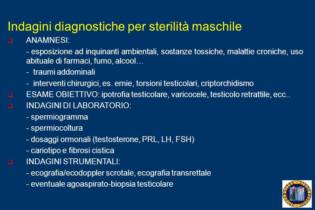 Indagini diagnostiche per sterilità maschile ANAMNESI: - esposizione ad inquinanti ambientali, sostanze tossiche, malattie croniche, uso abituale di f