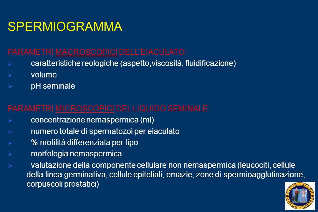 SPERMIOGRAMMA PARAMETRI MACROSCOPICI DELLEIACULATO: caratteristiche reologiche (aspetto,viscosità, fluidificazione) volume pH seminale PARAMETRI MICROSCOPICI DEL LIQUIDO SEMINALE: concentrazione nemaspermica (ml) numero totale di spermatozoi per eiaculato % motilità differenziata per tipo morfologia nemaspermica valutazione della componente cellulare non nemaspermica (leucociti, cellule della linea germinativa, cellule epiteliali, emazie, zone di spermioagglutinazione, corpuscoli prostatici)