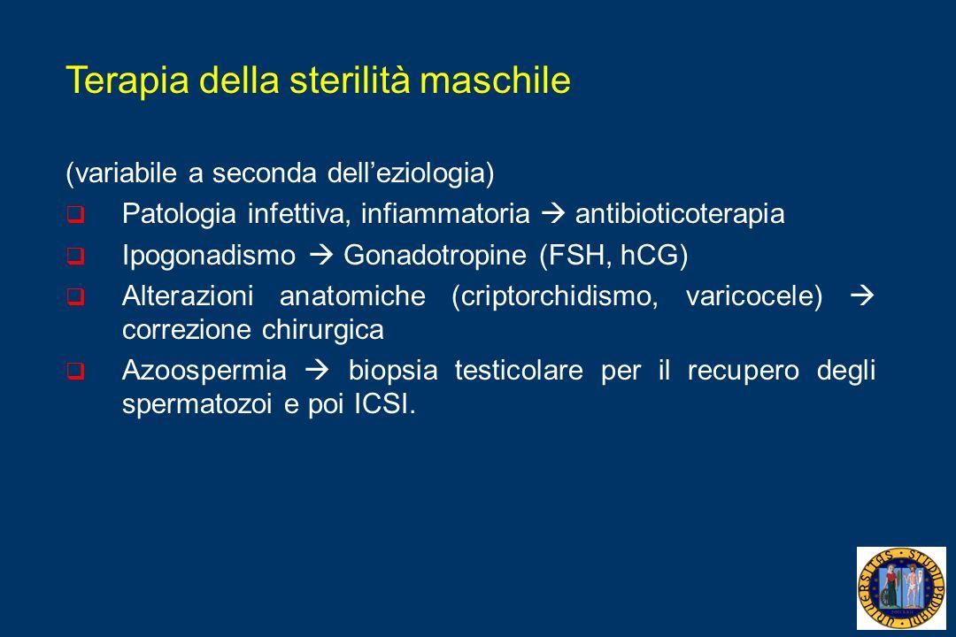 Terapia della sterilità maschile (variabile a seconda delleziologia) Patologia infettiva, infiammatoria antibioticoterapia Ipogonadismo Gonadotropine (FSH, hCG) Alterazioni anatomiche (criptorchidismo, varicocele) correzione chirurgica Azoospermia biopsia testicolare per il recupero degli spermatozoi e poi ICSI.