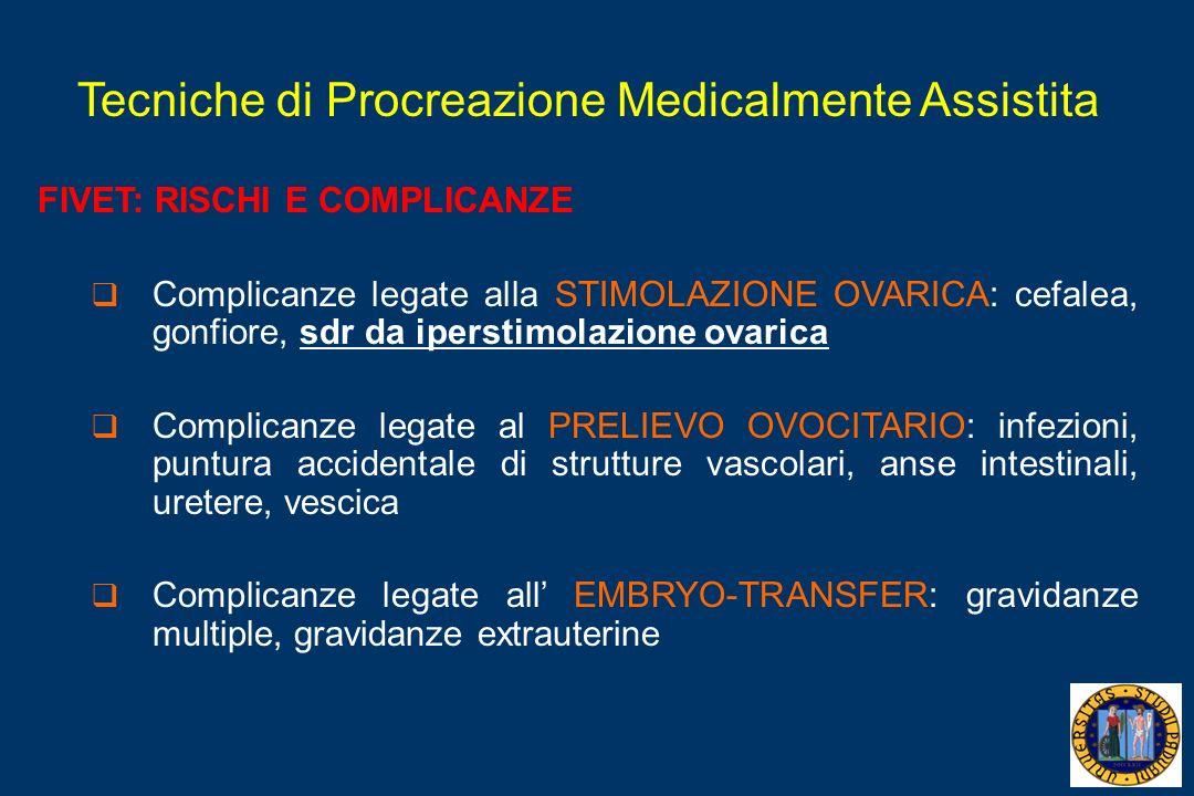 Tecniche di Procreazione Medicalmente Assistita FIVET: RISCHI E COMPLICANZE Complicanze legate alla STIMOLAZIONE OVARICA: cefalea, gonfiore, sdr da ip