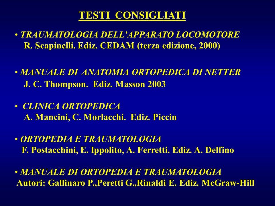 TESTI CONSIGLIATI TRAUMATOLOGIA DELLAPPARATO LOCOMOTORE R. Scapinelli. Ediz. CEDAM (terza edizione, 2000) MANUALE DI ANATOMIA ORTOPEDICA DI NETTER J.