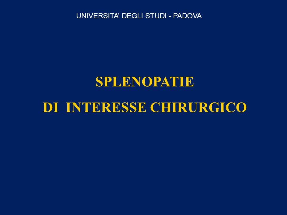 SPLENOPATIE DI INTERESSE CHIRURGICO UNIVERSITA DEGLI STUDI - PADOVA
