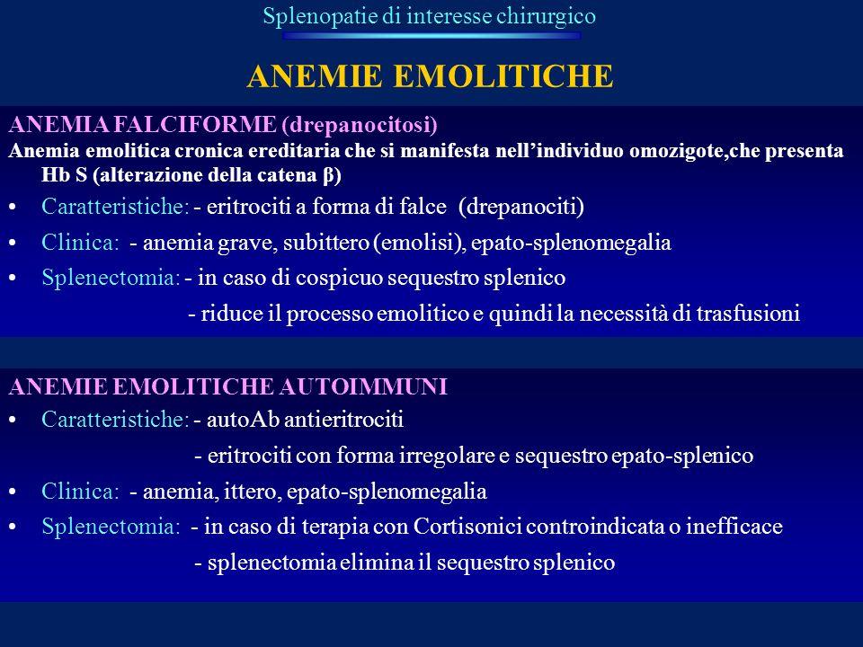 ANEMIE EMOLITICHE Splenopatie di interesse chirurgico ANEMIA FALCIFORME (drepanocitosi) Anemia emolitica cronica ereditaria che si manifesta nellindiv