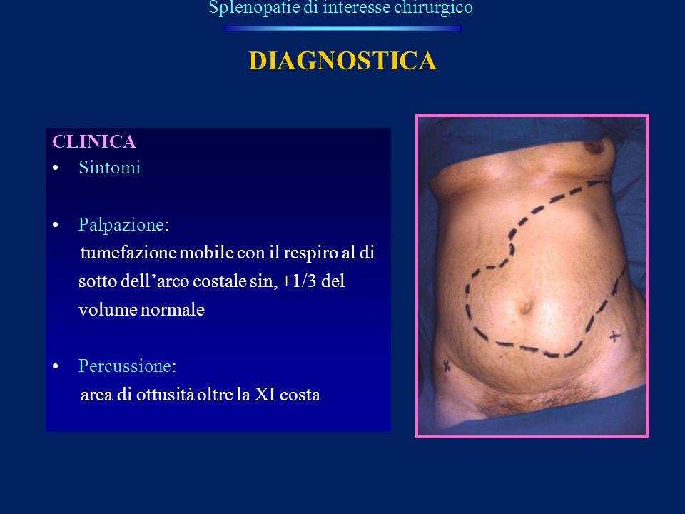 DIAGNOSTICA CLINICA Sintomi Palpazione: tumefazione mobile con il respiro al di sotto dellarco costale sin, +1/3 del volume normale Percussione: area