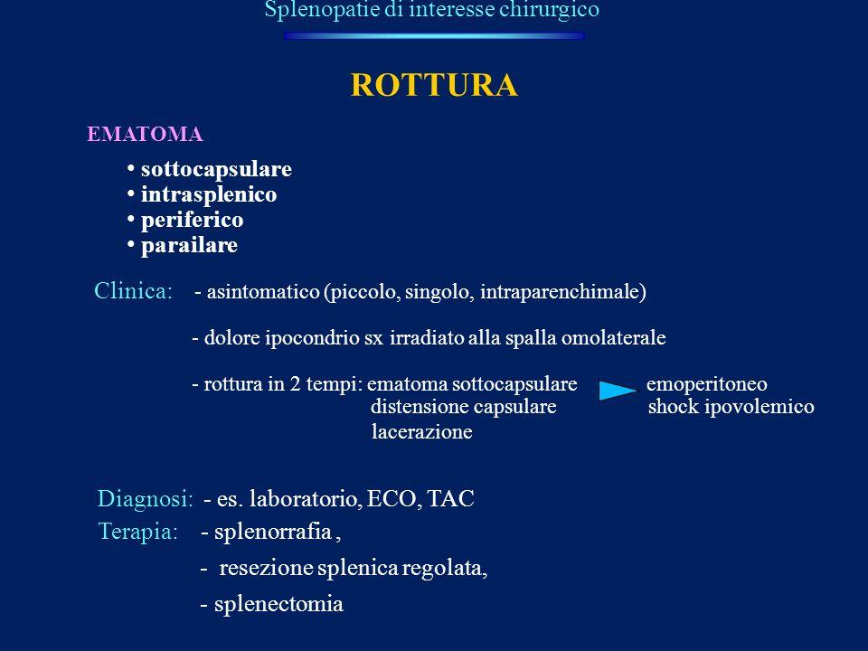 Splenopatie di interesse chirurgico ROTTURA EMATOMA sottocapsulare intrasplenico periferico parailare Clinica: - asintomatico (piccolo, singolo, intra