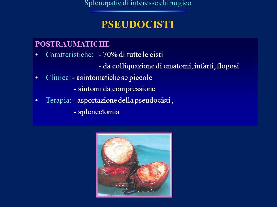 PSEUDOCISTI Splenopatie di interesse chirurgico POSTRAUMATICHE Caratteristiche: - 70% di tutte le cisti - da colliquazione di ematomi, infarti, flogos