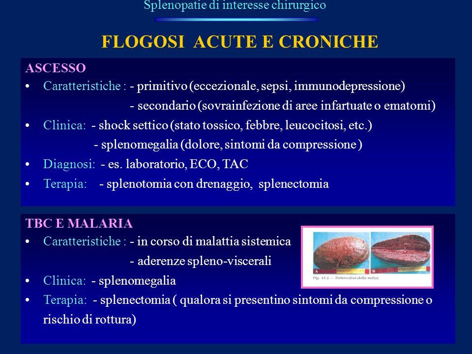 FLOGOSI ACUTE E CRONICHE Splenopatie di interesse chirurgico ASCESSO Caratteristiche : - primitivo (eccezionale, sepsi, immunodepressione) - secondari