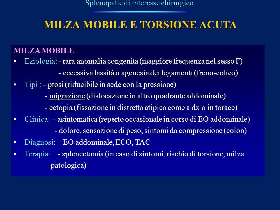 MILZA MOBILE E TORSIONE ACUTA Splenopatie di interesse chirurgico MILZA MOBILE Eziologia: - rara anomalia congenita (maggiore frequenza nel sesso F) -