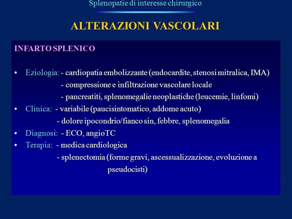 ALTERAZIONI VASCOLARI Splenopatie di interesse chirurgico INFARTO SPLENICO Eziologia: - cardiopatia embolizzante (endocardite, stenosi mitralica, IMA)