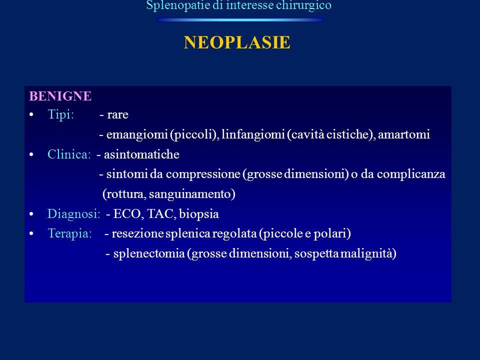 NEOPLASIE Splenopatie di interesse chirurgico BENIGNE Tipi: - rare - emangiomi (piccoli), linfangiomi (cavità cistiche), amartomi Clinica: - asintomat