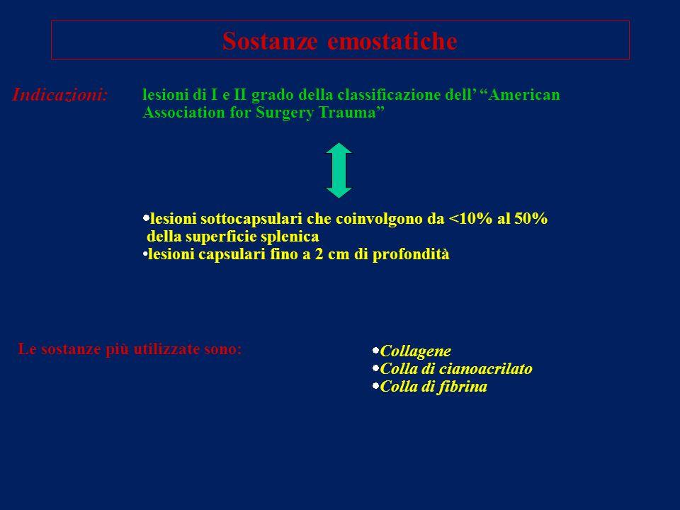 Sostanze emostatiche Indicazioni: lesioni sottocapsulari che coinvolgono da <10% al 50% della superficie splenica lesioni capsulari fino a 2 cm di pro