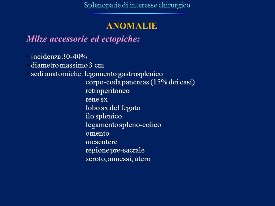 Splenopatie di interesse chirurgico Milze accessorie ed ectopiche: incidenza 30-40% diametro massimo 3 cm sedi anatomiche: legamento gastrosplenico co