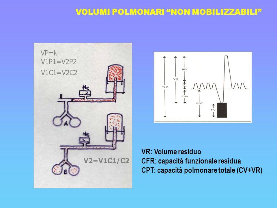 VOLUMI POLMONARI NON MOBILIZZABILI VR: Volume residuo CFR: capacità funzionale residua CPT: capacità polmonare totale (CV+VR) VP=k V1P1=V2P2 V1C1=V2C2