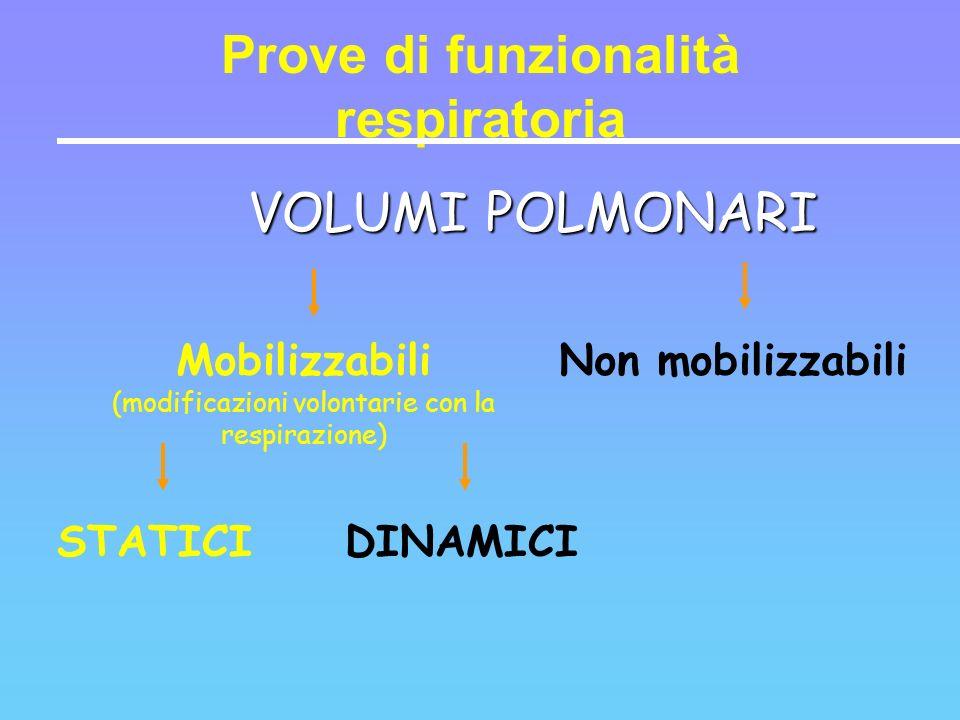 VOLUMI POLMONARI Prove di funzionalità respiratoria Mobilizzabili (modificazioni volontarie con la respirazione) Non mobilizzabili STATICIDINAMICI