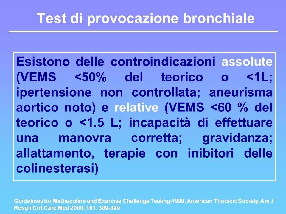 Esistono delle controindicazioni assolute (VEMS <50% del teorico o <1L; ipertensione non controllata; aneurisma aortico noto) e relative (VEMS <60 % d